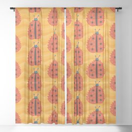 Orange Ladybug Autumn Leaf Sheer Curtain