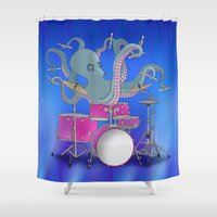 drums Shower Curtains featuring Octopus Playing Drums - Blue by Ornaart