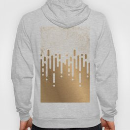 Marble and Geometric Diamond Drips, in Gold Hoody
