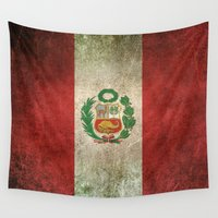 peru Wall Tapestries featuring Old and Worn Distressed Vintage Flag of Peru by Jeff Bartels