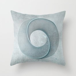 Geometrical Line Art Circle Distressed Teal Throw Pillow