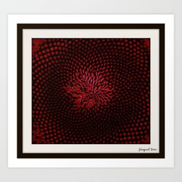 Red Sunflower Portrait by Jeanpaul Ferro Art Print