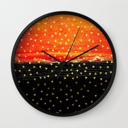 Black Ember Confetti Wall Clock
