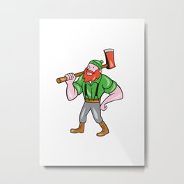 Paul Bunyan LumberJack Isolated Cartoon Metal Print