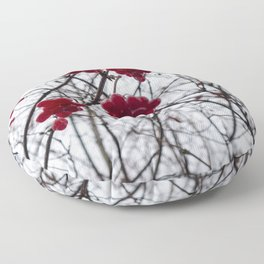 Redcurrant Berries on Fall Tree Floor Pillow