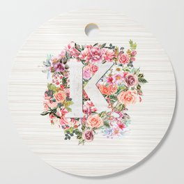 Initial Letter K Watercolor Flower Cutting Board