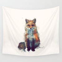 face Wall Tapestries featuring Fox by Amy Hamilton