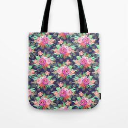 Pretty Christmas floral and snowflakes design Tote Bag