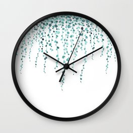 String of pearls in watercolor teal Wall Clock