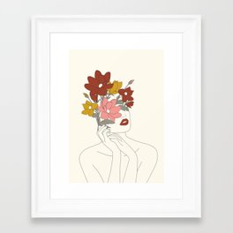 Colorful Thoughts Minimal Line Art Woman with Magnolia Framed Art Print