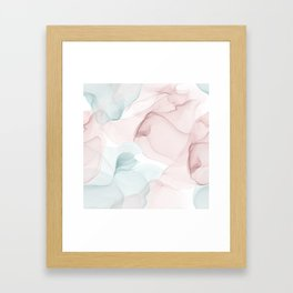 Blush and Blue Flowing Abstract Painting Framed Art Print