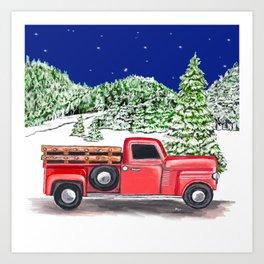 Old Red Farm Truck Winter Art Print