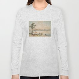 Vintage Pictorial Map of Baltimore in 1752 (1856) Long Sleeve T-shirt