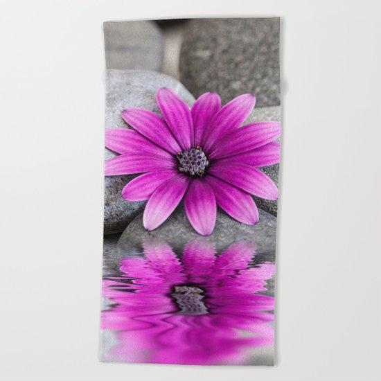 Zen Pink Daisy Pebble Still Life Beach Towel