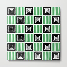 Retro Mid Century Modern Check Pattern 738 Black and Green Metal Print