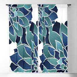 Festive, Floral Prints, Navy Blue and Teal on White Blackout Curtain