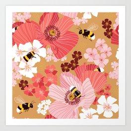 Bumblebees Pollinators Art Print