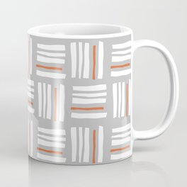 Stripes×Checkered Pattern_Gray&Orange Coffee Mug