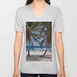 Serene Caribean Beach Scene Unisex V-Neck