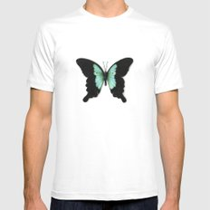 Green Butterfly Mens Fitted Tee White X-LARGE