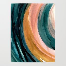 Breathe: a vibrant bold abstract piece in greens, ochre, and pink Poster