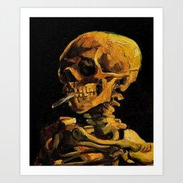 Van Gogh, Skull of a Skeleton with Burning Cigarette  – Van Gogh,Vincent Van Gogh,impressionist,post Art Print