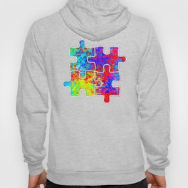 Autism Colorful Puzzle Pieces Hoody