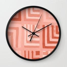 Painted Color Block Squares in Peach Wall Clock