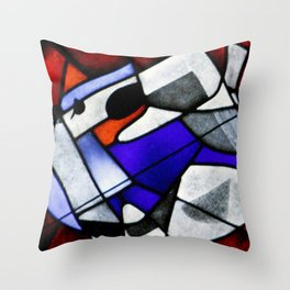 Red and Blue Montreal Stain Glass Window with Dog Photography Throw Pillow