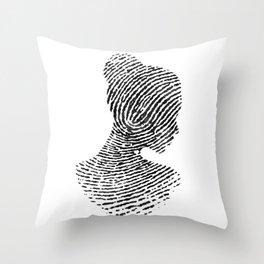Fingerprint Silhouette Portrait No.1 Throw Pillow