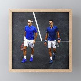 Federer and Djokovic Doubles Framed Mini Art Print