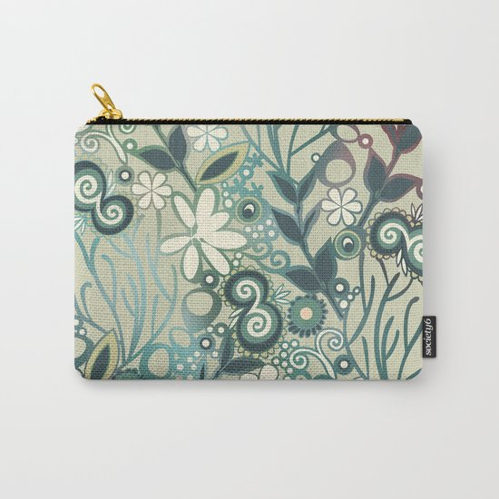 Detailed square of green and ocre floral tangle Carry-All Pouch