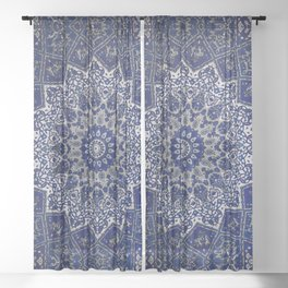 N33 - Blue Andalusian Bohemian Moroccan Mandala Artwork. Sheer Curtain