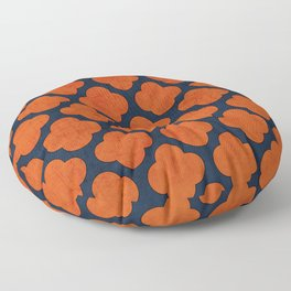 navy and orange clover Floor Pillow