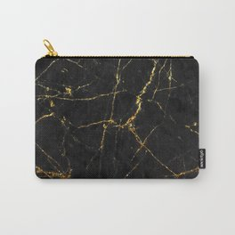 Gold Glitter and Black marble Carry-All Pouch