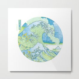 Great Wave Off Kanagawa Blue/Green Metal Print