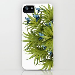 """El Bosco fantasy, tropical island blue butterflies 02"" iPhone Case"