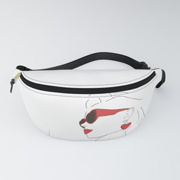 Female with Red Sunglasses Line Art Illustration Fanny Pack