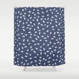 Minimalist Blue Shower Curtain