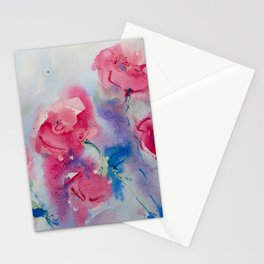 Roses in watercolor Stationery Cards