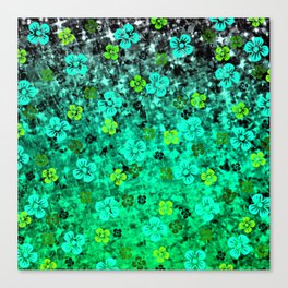 LUCK OF THE IRISH Colorful Emerald Green Ombre St Patricks Day Floral Shamrock Four Leaf Clover Art Canvas Print