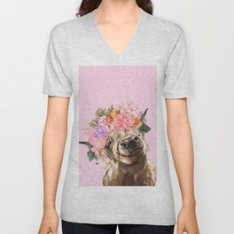 Highland Cow with Flowers Crown in Pink Unisex V-Neck