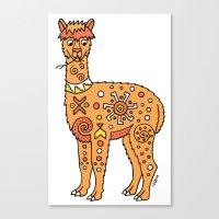 alpaca Canvas Prints featuring Alpaca by Peggy Cline