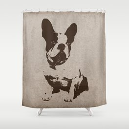 FRENCH BULLDOG IN SEPIA Shower Curtain
