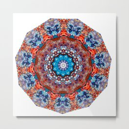 Digital Bright Colorful Red Blue Kaleidoscope Mandala Bohemian Metal Print