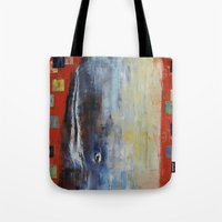 dick Tote Bags featuring Moby Dick by Michael Creese