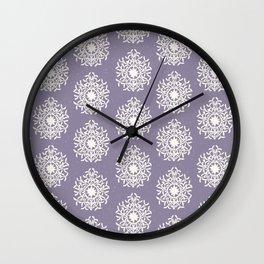 purple regal rosette pattern Wall Clock