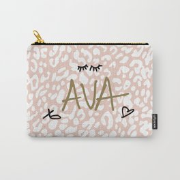 Ava (Handwritten on Pink Leopard) Carry-All Pouch