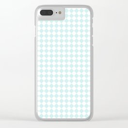 Small Diamonds - White and Light Cyan Clear iPhone Case