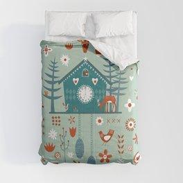 Cuckoo Clock Scandinavian Woodland Forest Comforters